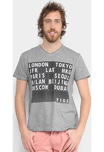 Camiseta Tigs Estampada Masculina - Masculino-Cinza