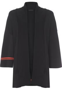 Cardigan Feminino Knit Stripe - Preto