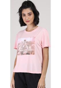 Blusa Feminina Anjo Manga Curta Decote Redondo Rosa Claro