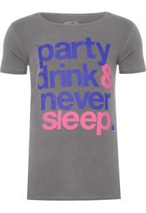 Camiseta Masculina Never Sleep - Cinza