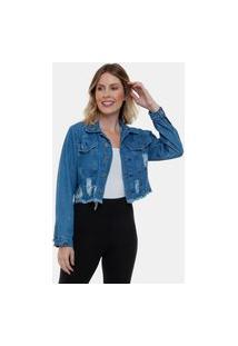 Jaqueta Jeans Claro Desfiada Cropped Fashion Feminina Azul Escuro