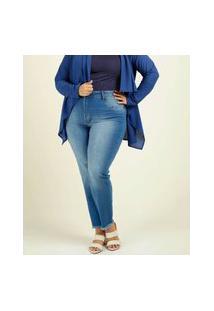 Calça Plus Size Feminina Cigarrete Barra Desfiada Uber Jeans
