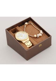 Kit De Relógio Analógico Mondaine Feminino + Pulseira - 99363Lpmvde1K Dourado - Único