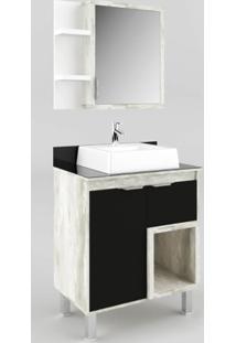 Gabinete Banheiro Tampo De Vidro Calcare E Preto Lilies - Multicolorido - Dafiti