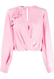Pinko Blusa Com Transpasse - Rosa