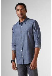 Camisa Regular Maquineta Chevron Reserva Masculina - Masculino-Azul