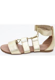 Sandália Gladiadora Top Franca Shoes Feminina - Feminino-Dourado