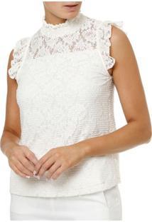 Blusa Regata Feminina Off White