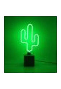 Abajur Luminária Mesa Decorativo Cactus Cor Verde Plástico