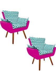 Kit 02 Poltrona Decorativa Opala Suede Composê Estampado Zig Zag Verde Tiffany D78 E Suede Pink - D'Rossi