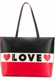 Love Moschino Bolsa Tote Love Com Logo - Preto