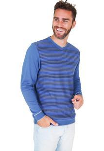 Suéter G'Dom Azul Frente Listrado Color