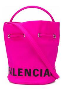 Balenciaga Bolsa Bucket Wheel Xs Com Cordão De Ajuste - Rosa