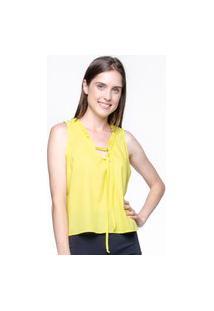 Blusa 101 Resort Wear Babados Sem Mangas Algodao Amarelo