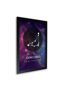 Quadro Oppen House Signos Capricórnio Zodíaco Horóscopo Preta E Vidro Decorativo