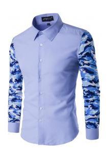 Camisa Masculina Slim Com Manga Longa Estampada - Azul