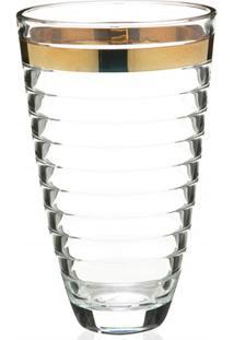 Vaso Em Vidro Transparente Baguette Faixa Dourada 30Cm