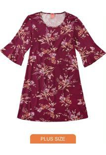 Vestido Vinho Evasê Floral