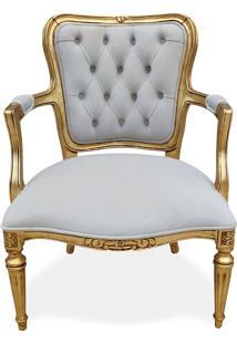 Poltrona Luís Xvi Entalhada Madeira Maciça Design Clássico De Luxo