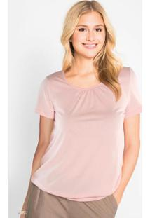 Blusa Com Franzido No Decote Rosa Claro