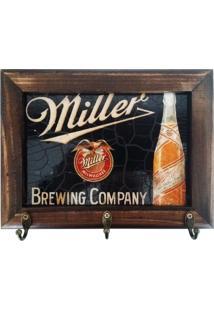 Porta Chaves Retrô Cerveja Miller - Madeira - 3 Ganchos