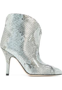 Paris Texas Metallized Embossed Ankle Boots - Azul
