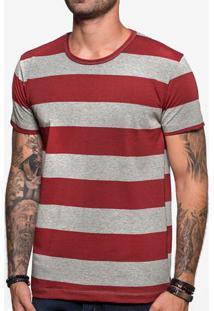 Camiseta Listrada Cinza E Vinho 103877