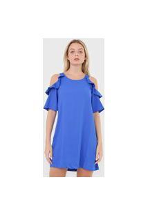 Vestido Calvin Klein Curto Babado Azul