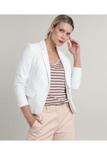 Blazer Feminino Básico Listrado Com Bolsos E Botão Off White