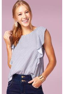 Blusa Azulejo Com Babado Na Frente