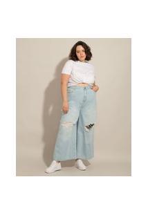 Calça Wide Reta Jeans Plus Size Destroyed Cintura Super Alta Azul Claro