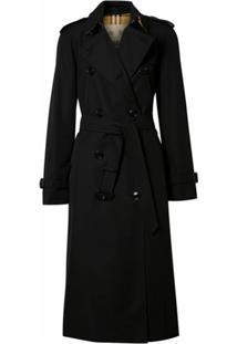 Burberry Trench Coat Gabardine De Algodão - Preto