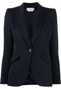 Alexander Mcqueen Peak-Lapel Single-Breasted Blazer - Azul
