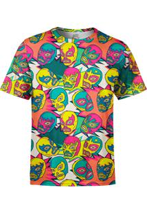 Camiseta Estampada Over Fame Lucha Libre Mexicana Multicolorido