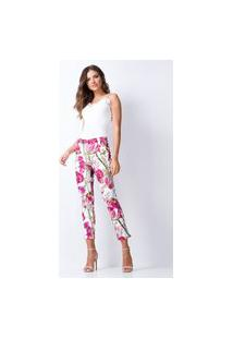Calça Skinny Estampada Lança Perfume Jeans Rosa