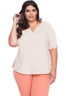 Blusa Almaria Plus Size Pianeta Listrada Bege Bege