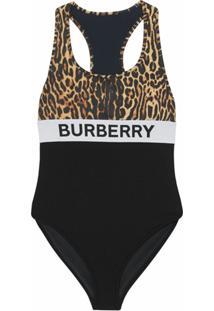 Burberry Maiô Com Estampa De Leopardo E Logo - Preto