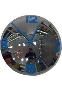 Relógio De Parede Decorativo Espelhado Azul Metal 28X28X10 - Tricae