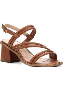 Sandália Shoestock Salto Médio Tiras Duplas Feminina - Feminino-Caramelo