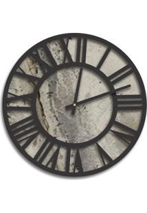 Relógio De Parede Premium Magma Petra Com Números Romanos Em Relevo Preto Ônix 50Cm Grande