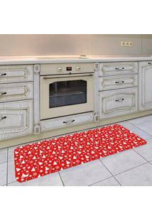 Tapete De Cozinha Mdecore Natal Vermelho 40X120Cm