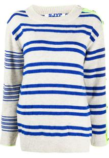 Sjyp Button-Sleeve Striped Pullover Jumper - Cinza