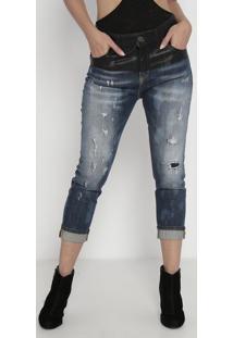 Jeans Skinny Papoula Com Recorte- Azul & Preto- Johnjohn John