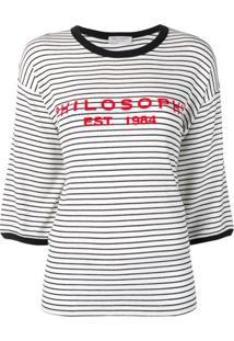 Philosophy Di Lorenzo Serafini Logo Striped Oversized Top - Branco