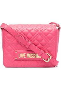 Love Moschino Bolsa Tiracolo Matelassê Com Placa De Logo - Rosa