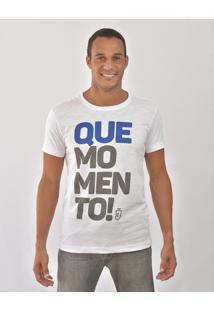Camiseta Bora Que Momento Masculina - Masculino-Branco