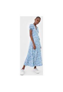 Vestido Polo Ralph Lauren Longo Floral Off-White/Azul