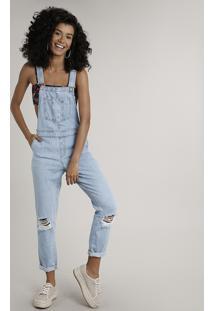 Macacão Jeans Feminino Relaxed Destroyed Azul Claro