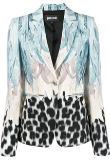 Just Cavalli Leopard Feather-Print Single Breasted Blazer - Azul