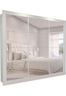 Guarda-Roupa Casal Com 3 Espelhos Helena 3 Pt 6 Gv Branco 242 Cm